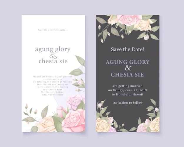 Cartão de convite de casamento elegante conjunto com rosas e folhas