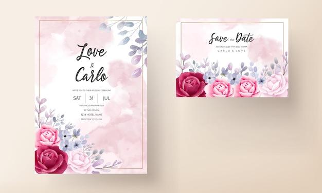 Cartão de convite de casamento elegante conjunto de flores e folhas em aquarela