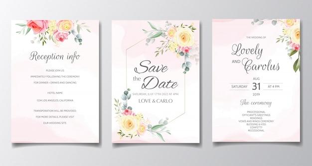 Cartão de convite de casamento elegante conjunto modelo com folhas e flores coloridas