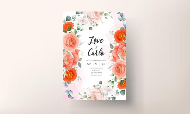 Cartão de convite de casamento elegante decorado com lindas flores de laranja