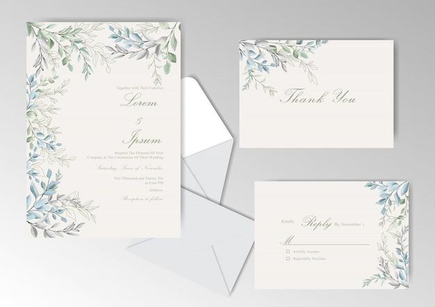 Cartão de convite de casamento elegante em aquarela com folhas bonitas
