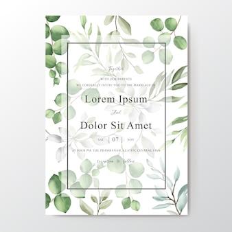 Cartão de convite de casamento elegante em aquarela