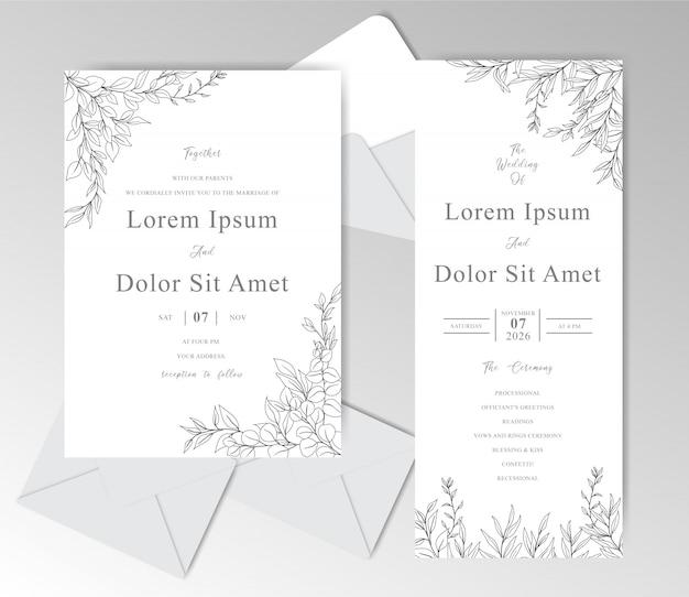 Cartão de convite de casamento elegante mão desenhada com folhas