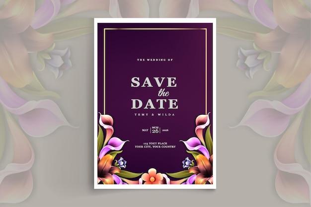 Cartão de convite de casamento elegante para salvar a data