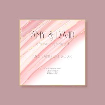 Cartão de convite de casamento elegante pintado à mão em ouro e rosa