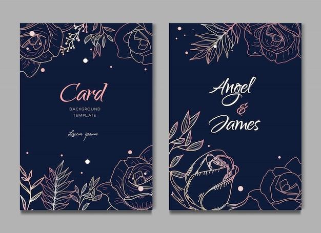 Cartão de convite de casamento elegante rosa escuro