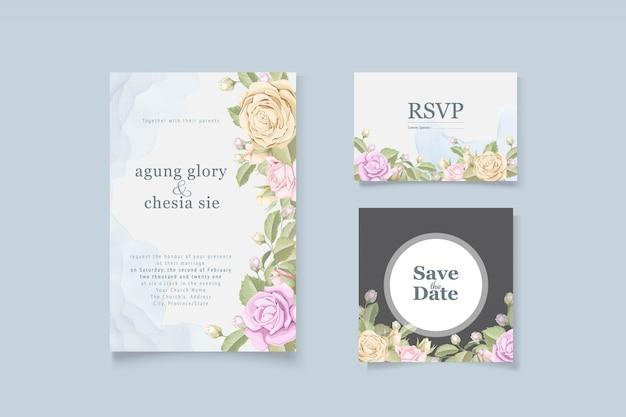 Cartão de convite de casamento elegante simples com rosas e folhas