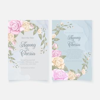 Cartão de convite de casamento elegante simples conjunto com rosas