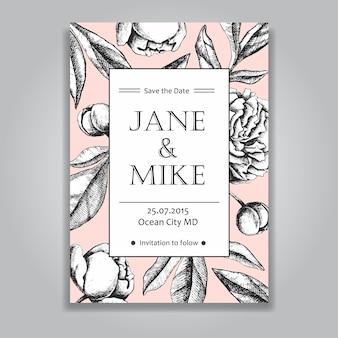 Cartão de convite de casamento elegante vintage