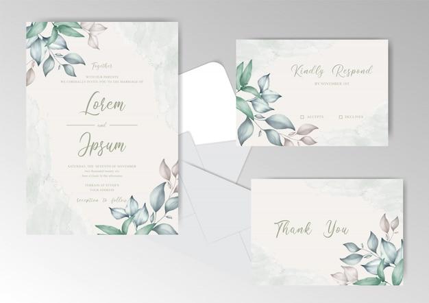 Cartão de convite de casamento em aquarela com bela folhagem