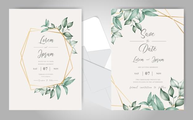 Cartão de convite de casamento em aquarela com folhagem bonita