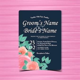 Cartão de convite de casamento em aquarela com lindas rosas cor de rosa