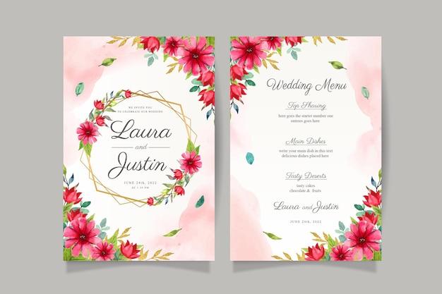 Cartão de convite de casamento em aquarela com moldura vermelha floral e dourada