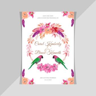 Cartão de convite de casamento em aquarela com pássaros