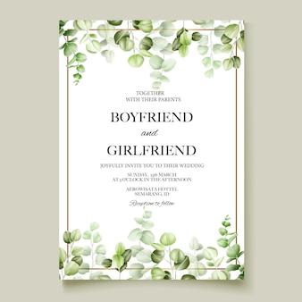 Cartão de convite de casamento em aquarela de eucalipto