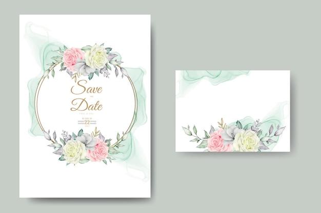 Cartão de convite de casamento em aquarela de flores e folhas elegantes