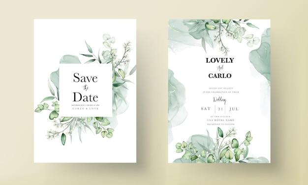 Cartão de convite de casamento em aquarela de folhas de eucalipto elegante