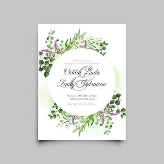 Cartão de convite de casamento em aquarela de lavanda e eucalipto