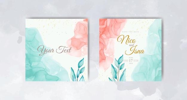 Cartão de convite de casamento em aquarela de lindas folhas