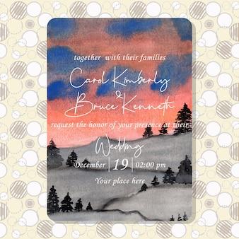 Cartão de convite de casamento em aquarela de paisagem