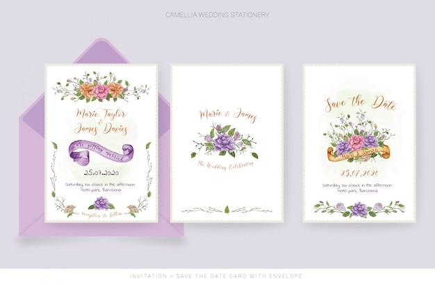 Cartão de convite de casamento em aquarela e salvar o cartão de data