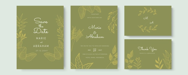 Cartão de convite de casamento em aquarela elegante com folhas douradas