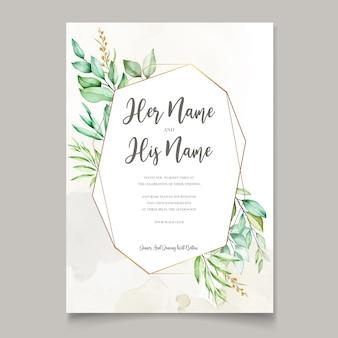 Cartão de convite de casamento em aquarela em folhas verdes