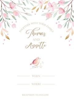 Cartão de convite de casamento em aquarela flor pintura.