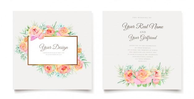Cartão de convite de casamento em aquarela floral elegante