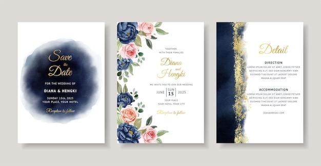 Cartão de convite de casamento em aquarela floral marinho