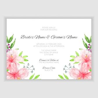 Cartão de convite de casamento em aquarela floral verão
