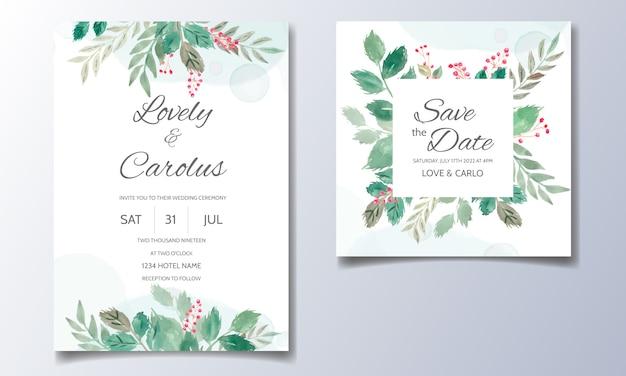 Cartão de convite de casamento em aquarela floral