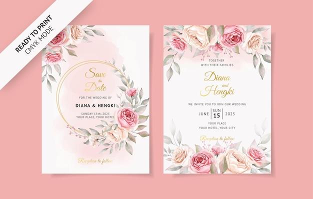 Cartão de convite de casamento em aquarela rosa suave com flores