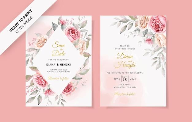 Cartão de convite de casamento em aquarela rosa suave com lindos florais