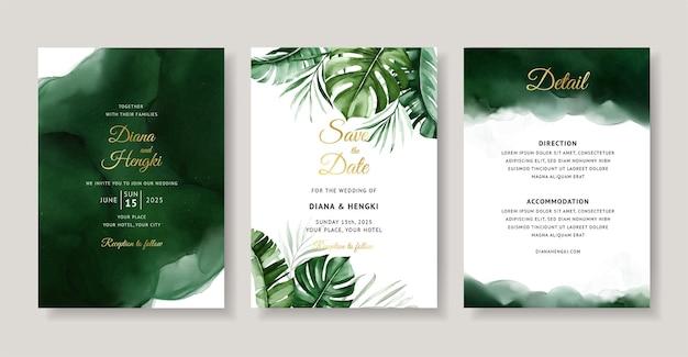 Cartão de convite de casamento em aquarela tropical verde