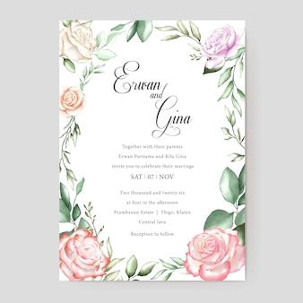 Cartão de convite de casamento em aquarela