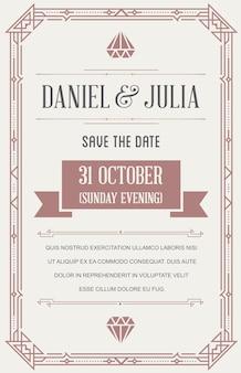 Cartão de convite de casamento em art déco