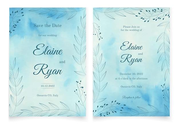 Cartão de convite de casamento em estilo aquarela vetorial com flores