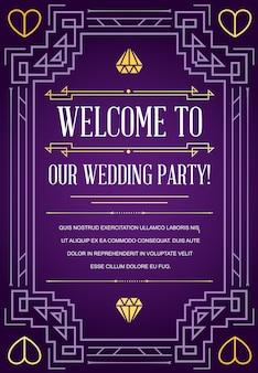 Cartão de convite de casamento em estilo art déco