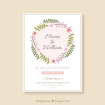 Cartão de convite de casamento em estilo simples