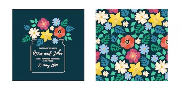 Cartão de convite de casamento estilo moderno com flor de flor plana e padrão sem emenda