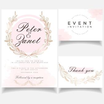 Cartão de convite de casamento evento feminino elegante conjunto botânico