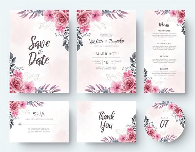 Cartão de convite de casamento flor aquarela vintage papelaria