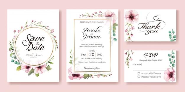 Cartão de convite de casamento. flor de anêmona. estilos de aquarela.