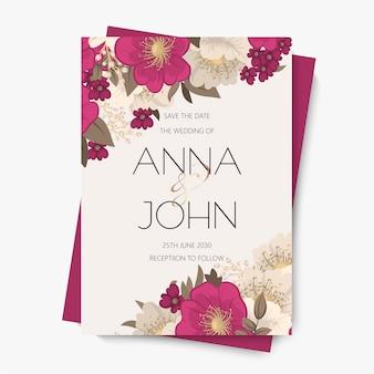 Cartão de convite de casamento flor - flor rosa quente