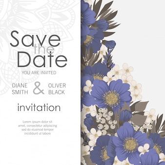 Cartão de convite de casamento flor - flores azuis claras