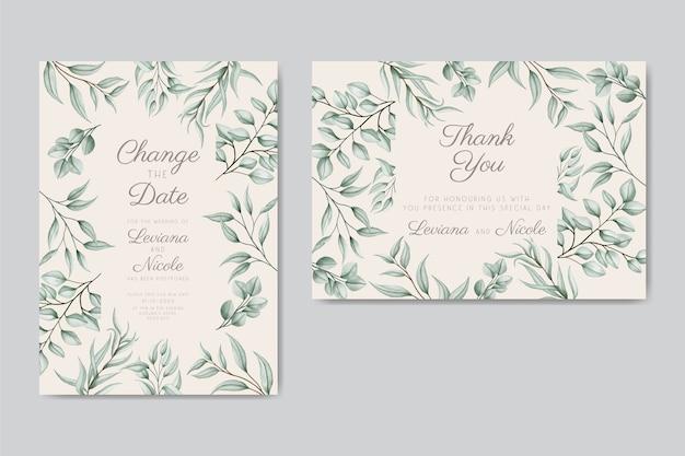 Cartão de convite de casamento floral adiado