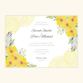 Cartão de convite de casamento floral amarelo aquarela de pintados à mão