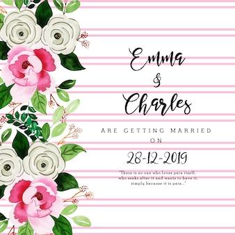 Cartão de convite de casamento floral aquarela com listras