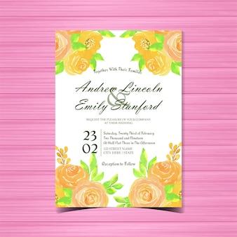 Cartão de convite de casamento floral aquarela com rosas amarelas